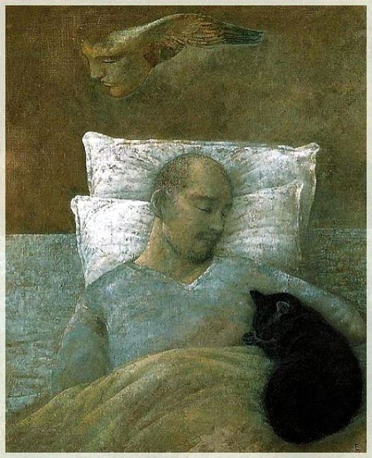 Toshiyuki Enoki, Self-portrait with Black Cat