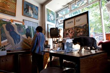 Mimi Vang Olsen with her Cat in her Studio