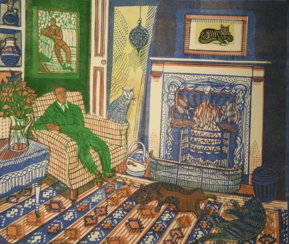 Richard Bawden, Fireside II The Green Man, linocut