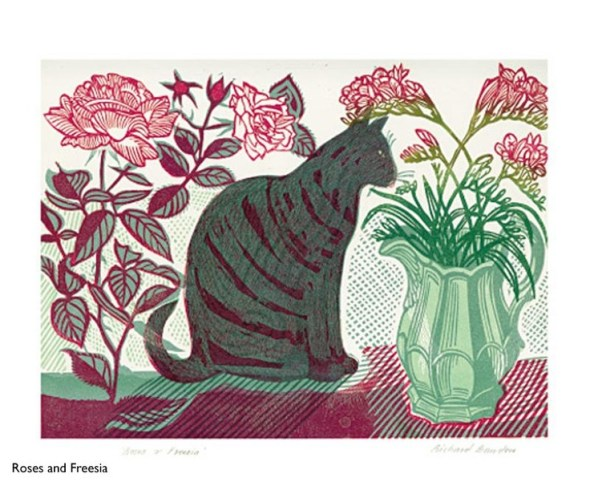 Roses and Fresia (and tabby cat) linocut  Richard Bawden