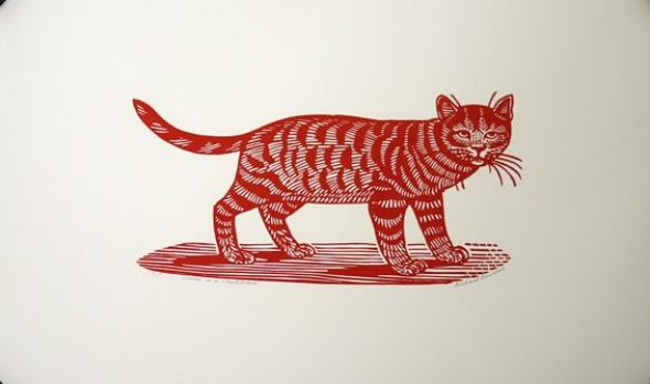 Sasha on skateboard etching of a cat Richard Bawden