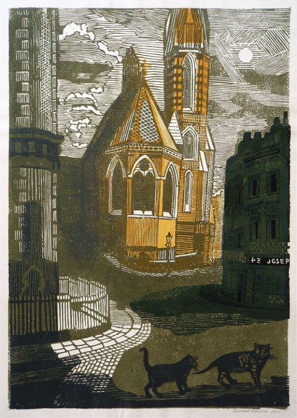 Untitled (street scene with cats) Richard Bawden