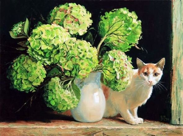 Cat and Vase, Maria Pavlova