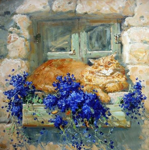 Cats and Flowers, Maria Pavlova