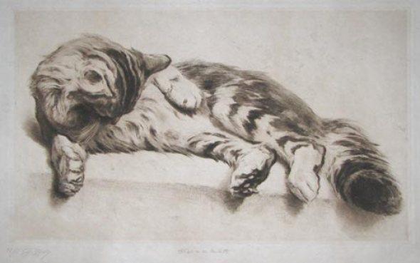 Ferdinand Henri Oger, Cat Cleaning Itself