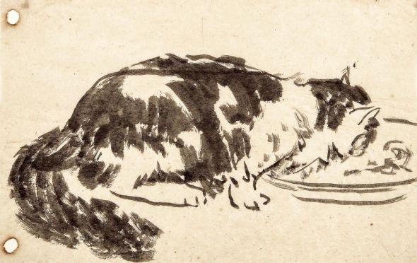 Ferdinand Oger, Cat Drinking Milk