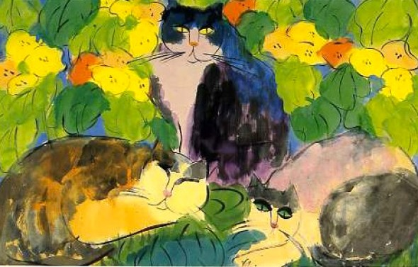 Walasse Ting, Three Cats