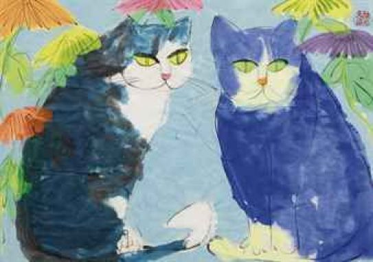 Walasse Ting, Two Blue and White Cats