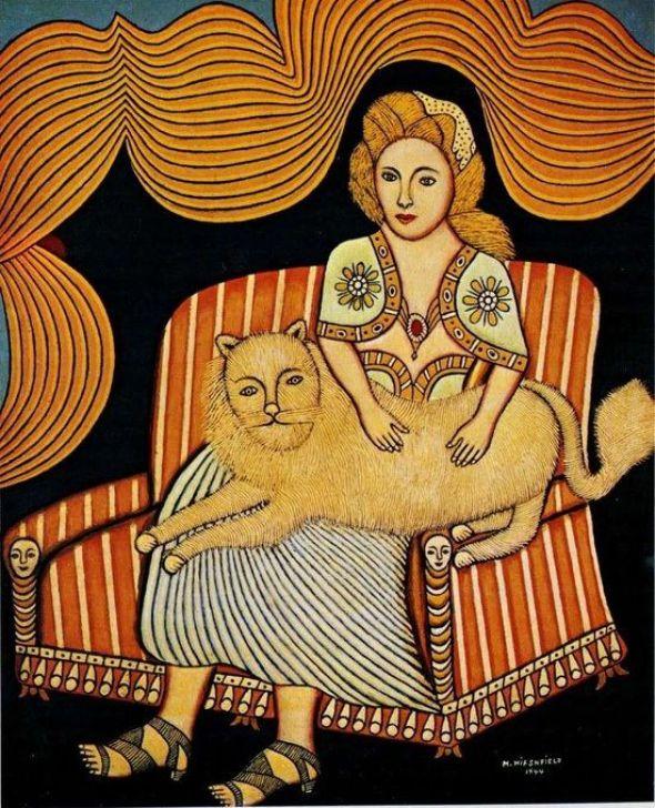 Morris Hirschfield, Girl with Angora Cat, 1944.