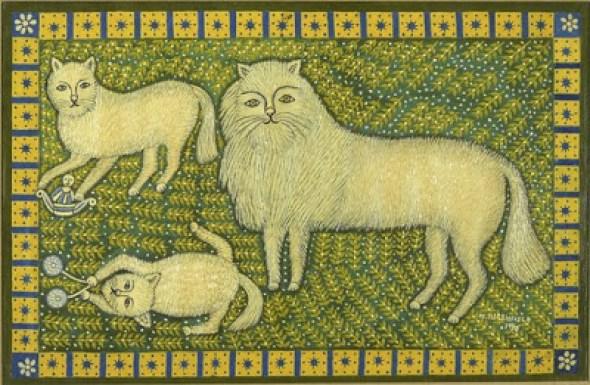 Morris Hirshfield, Three Angora Cats