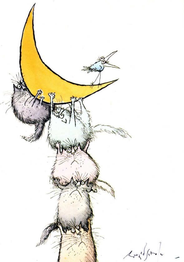 Cats and Moon, Ronald Searle