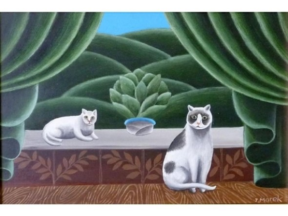 Two Cats with a Green Background, Jerzy Marek