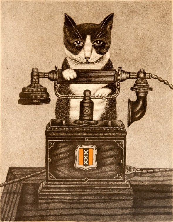 1878-1965 Sal Meijer Cat with a Telephone lothograph