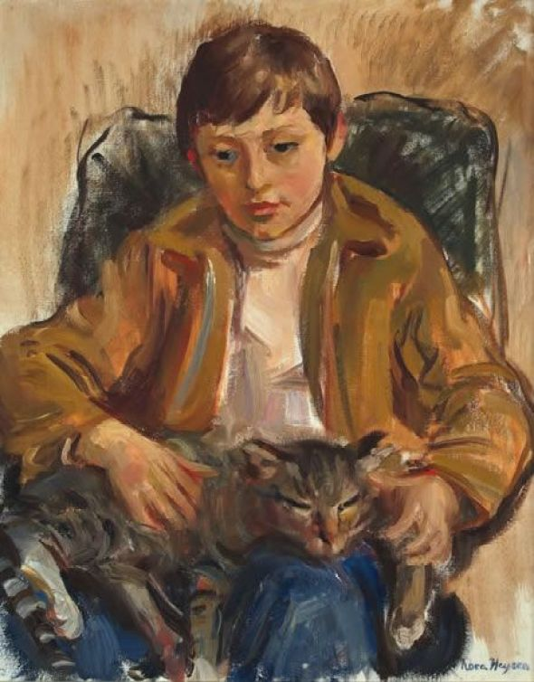 A Boy with his cat, 1972 - Nora Heysen (Australian, 1911-2003)