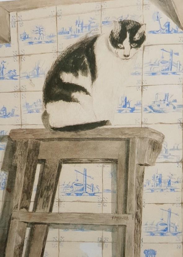 Cat with Dutch Tiles, Sal Meijer