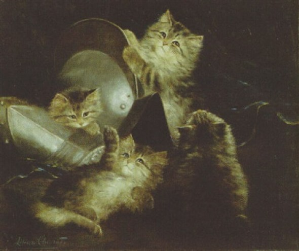 Kittens Playing with a Suit of Armor, Lilian Cheviot