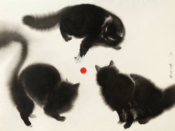 Endre Penovac, Three Black Cats and a Red Ball