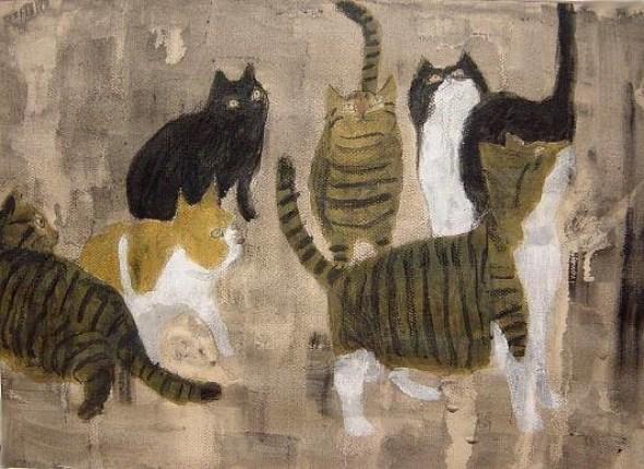 Shozo Ozaki, A Group of Cats