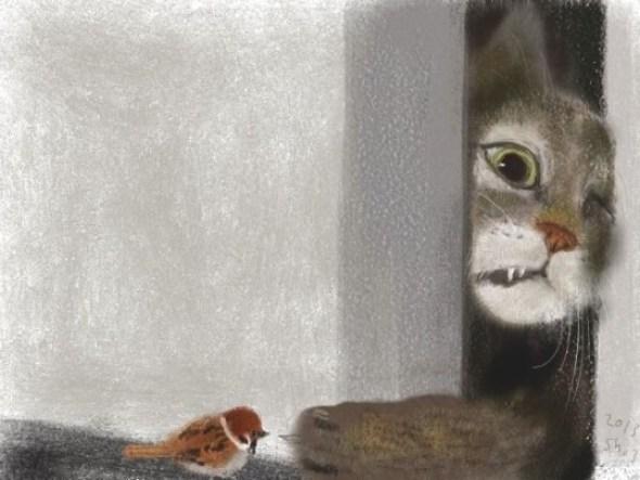 Shozo Ozaki, Cat and Bird