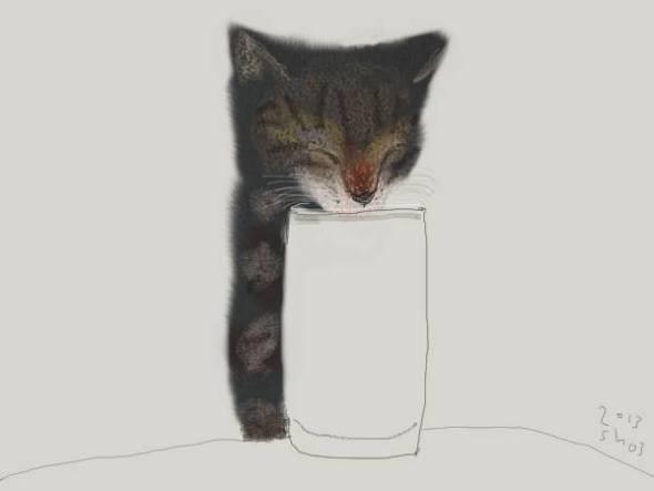Shozo Ozaki, Kitten Drinking Milk