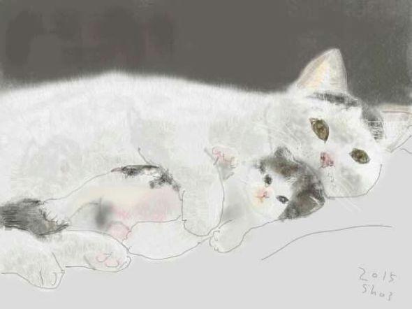 Shozo Ozaki, Mother with Baby Kitten