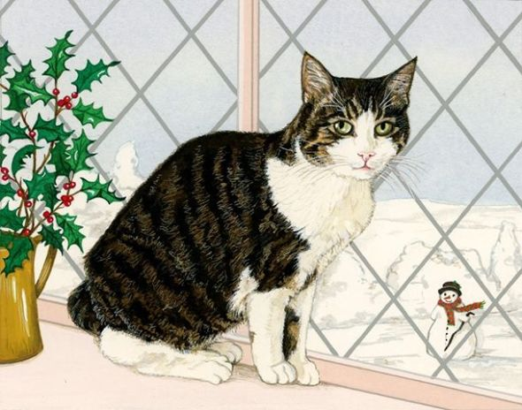 Tabby Cat and Snowman, Pamela Blanchfield
