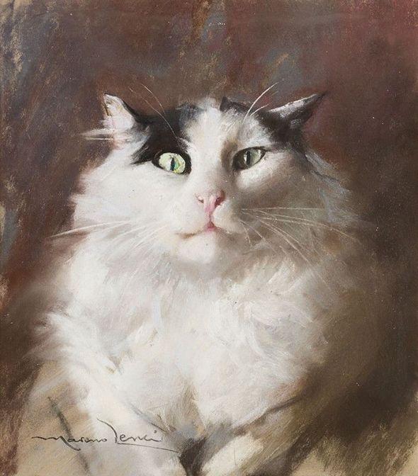 White Cat with Green Eyes, Marino Lenci