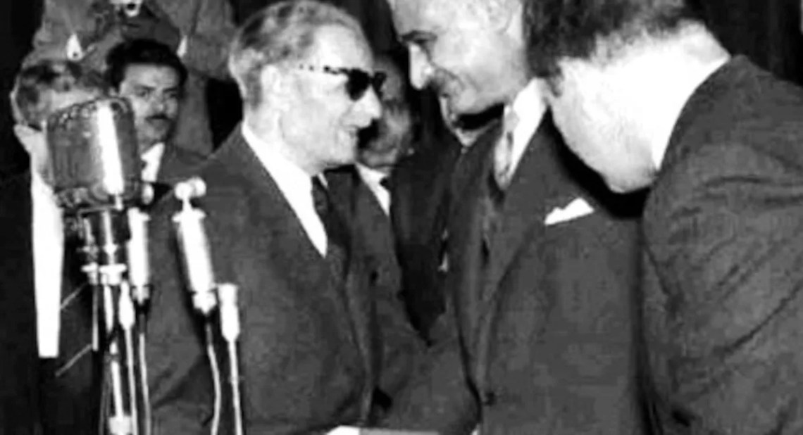 Image showing Taha Hussein and Abdel Nasser, two staunch supporters of standard Arabic.