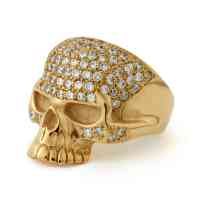 9ct Gold CZ Encrusted Large Evil Skull Ring  The Great Frog