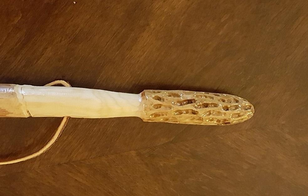 Dogwood Hand Carved Morel Hiking Stick