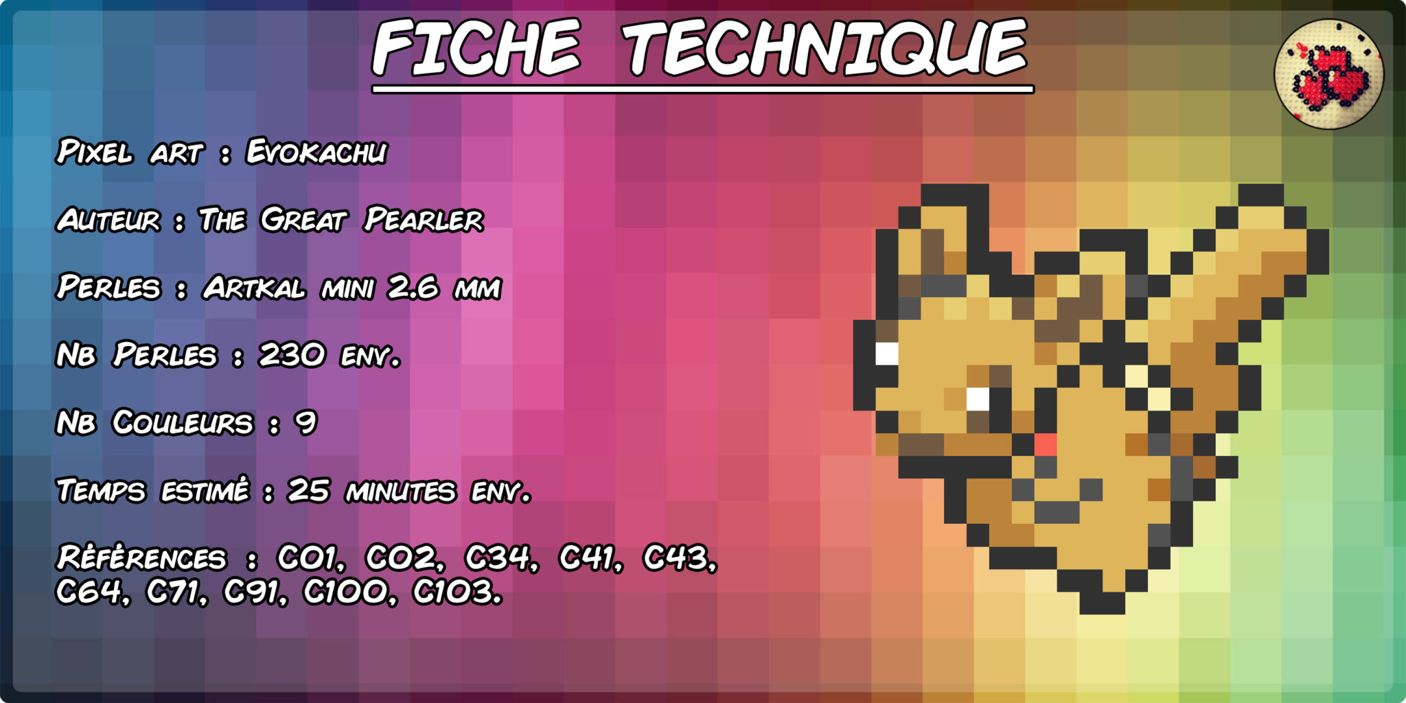 evoli-pikachu-evokachu-fiche-pokefusion-pokemon-pixel-card-pixelart-pixelcraft-pixelbeads-perlerbeads-perlerart-hama-hamabeads-hamasprites-artkal-artkalbeads-fusebeads-retro-gaming-sprite-design-tutoriel