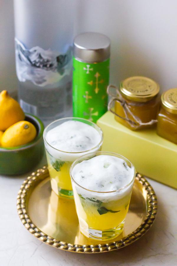 Mint Lemonade Greek Yogurt Fizz Cocktail