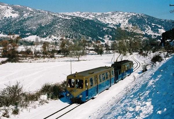 The 'odontotos' choo-choo on its way to the ski town of Kalavryta, Greece.