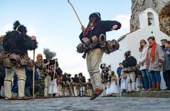 A scene from carnival on Skyros island, Greece.