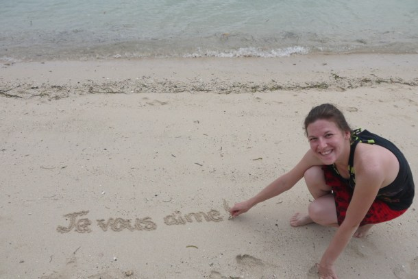 Writing a message in the sand
