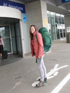Backpack on, ready to enter the departure area at the airport