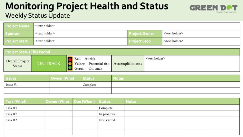 Stop light report, weekly status update