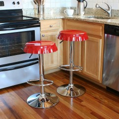 Red Retro Kitchen Table And Chairs Cane Bottom Bottle Cap Barstools - The Green Head