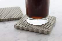 Concrete Hexagon Coasters With Cork Bottoms - Green Head