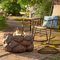 Faux Rock Fire Pit With Spark Guard - The Green Head