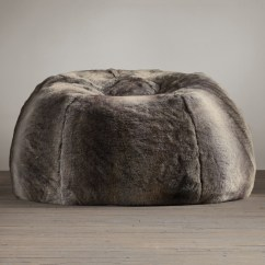Bean Bags Chair Bedroom Table Grand Luxe Faux Wolf Fur Bag - The Green Head