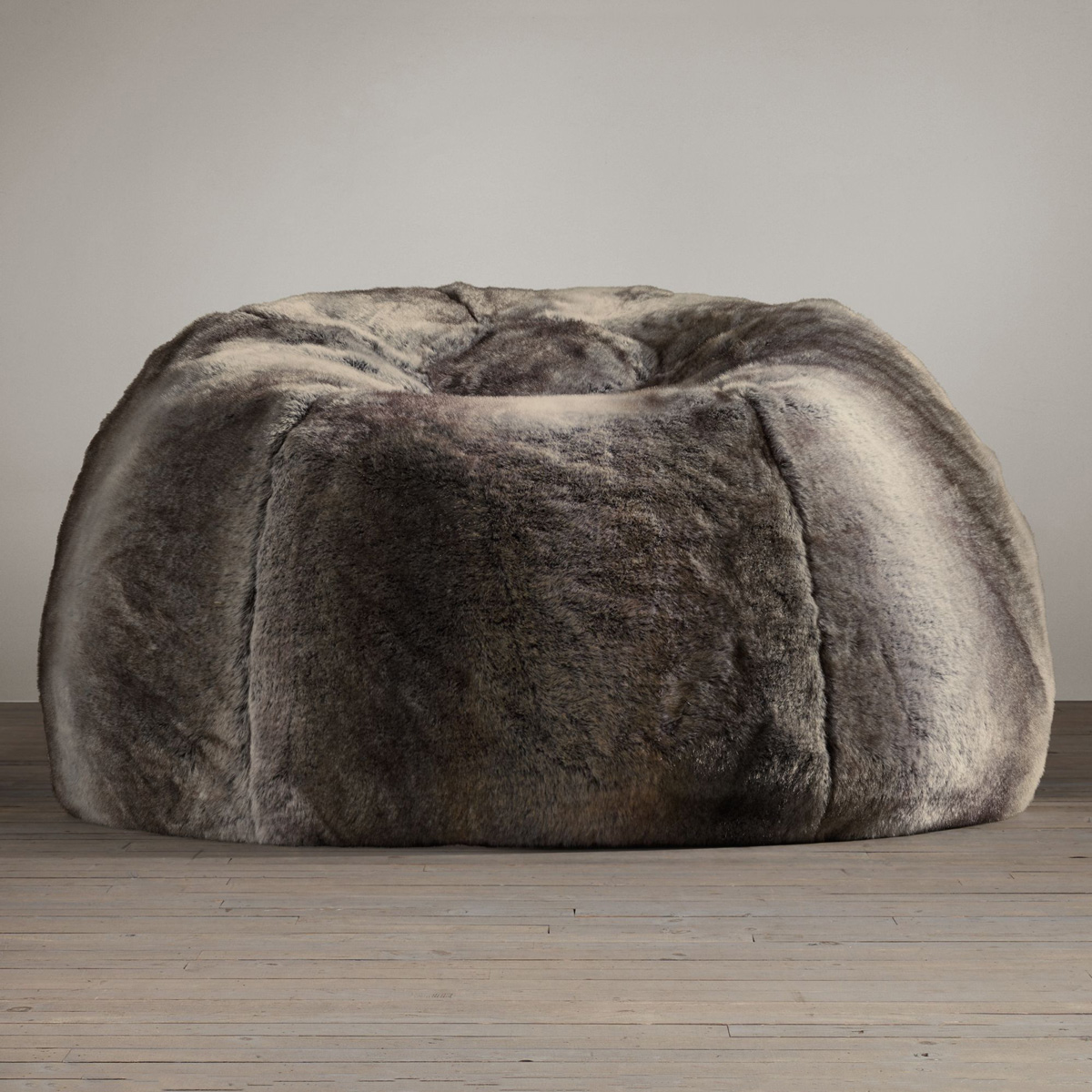 restoration hardware beanbag chair swivel leather living room grand luxe faux wolf fur bean bag