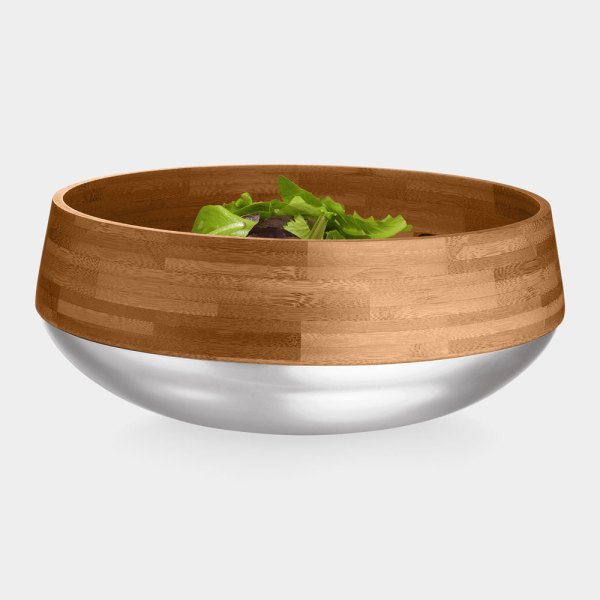 Kontra Bamboo Salad Bowl With Stainless Steel Base The