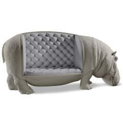 Full Grain Leather Chair Engraved Rocking Lifesize Hippopotamus Sofa / Statue