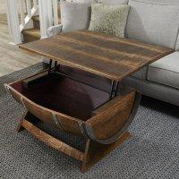 Lift-Top Reclaimed Wine Barrel Coffee Table - The Green Head