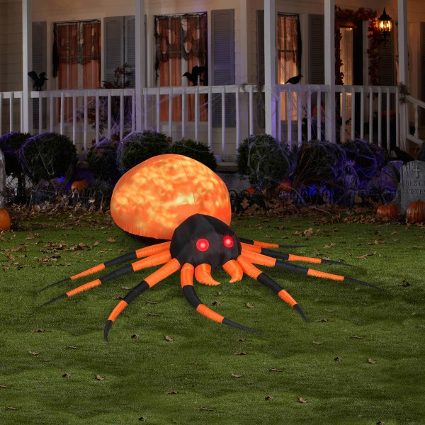 Massive Inflatable Orange Fire And Ice Projection Spider