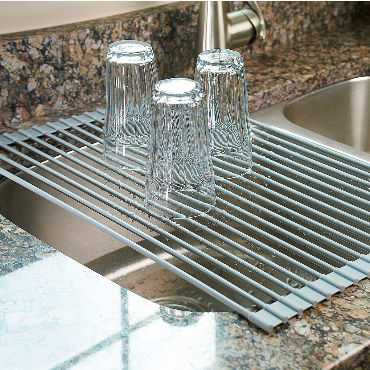 OvertheSink Roll Up Drying Rack  Colander  The Green Head