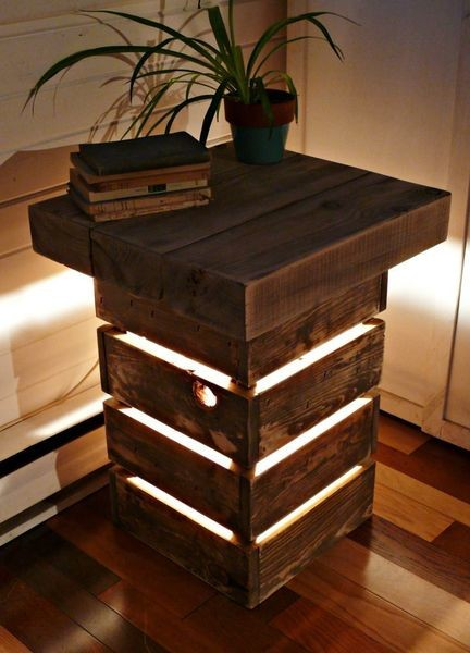 Rustic Reclaimed Wood Table With Light