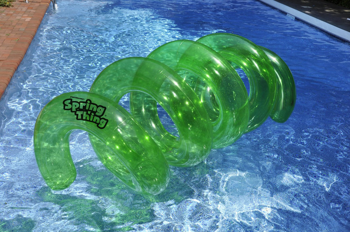 Spring Thing  Inflatable Twisty Floating Tunnel Pool Toy  The Green Head