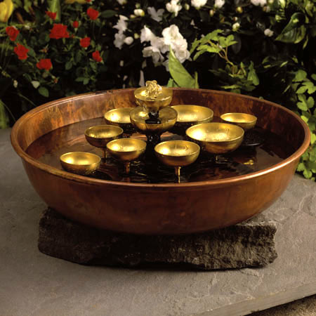Water Bell Fountain Chime  Copper Bowl